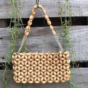 Vintage 1970s Boho Wood Beaded Mini Clutch Zip Bag